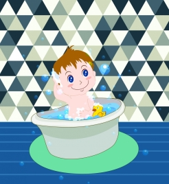 baby shower background bathing kid icon cartoon character