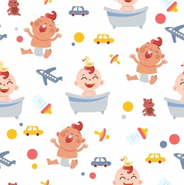 baby shower background cute icons colored repeating design