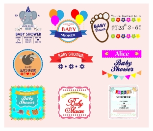 baby shower labels collection vector with various styles