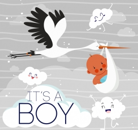 baby shower poster stylized clouds crane kid icons