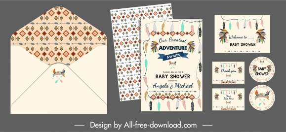 baby shower template colorful tribal elements decor