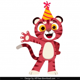 baby tiger icon cute stylized cartoon design