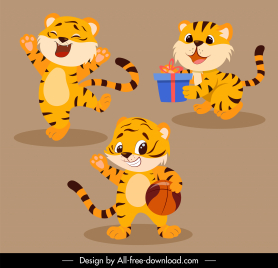 baby tigers icons cute cartoon characters stylized design