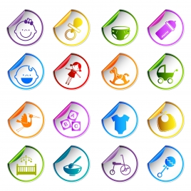 baby toy care sticker icons