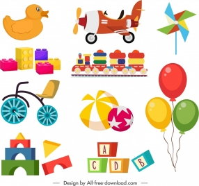 baby toys icons colorful flat 3d design
