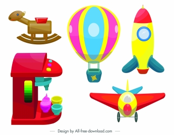 baby toys icons modern colorful 3d sketch