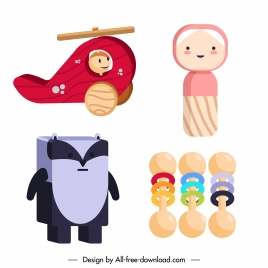 baby toys icons wooden made sketch