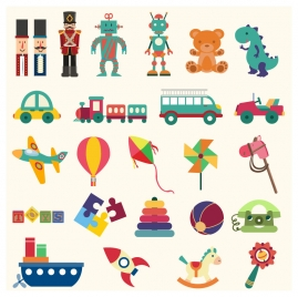 baby toys sets vector illustration in flat style