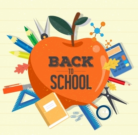 back to school background apple study tools icons