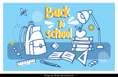 back to school background handdrawn education elements sketch