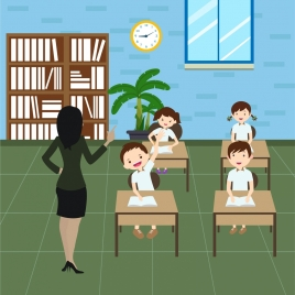 back to school background teacher pupils icons