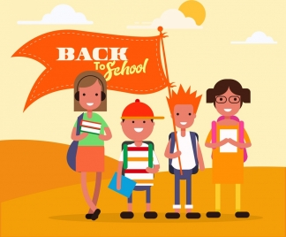 back to school background teenager pupils flag icons