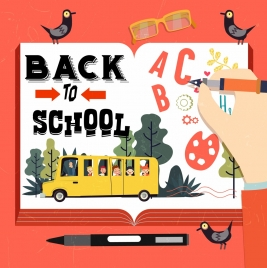 back to school banner book decoration pen icon