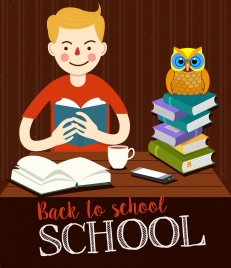 back to school banner boy owl books icons