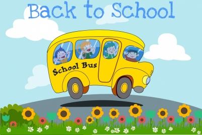 back to school banner bus children colored cartoon