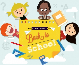 back to school banner children learning tool icons