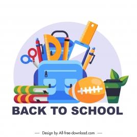 back to school banner colorful study tools sketch