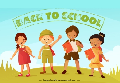 back to school banner cute children cartoon characters