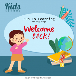 back to school banner cute girl education elements