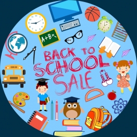 back to school banner educational icons circle layout