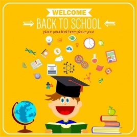 back to school banner educational icons on yellow background