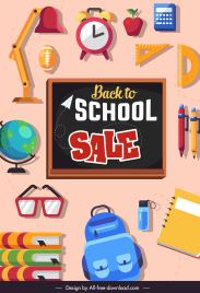 back to school banner flat education elements sketch