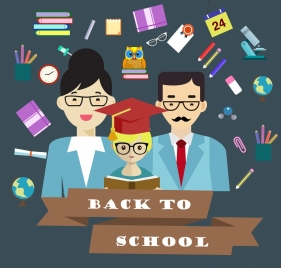 back to school banner graduated pupil parents icons