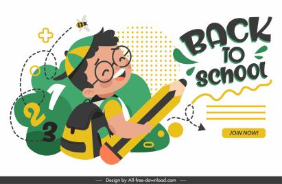 back to school banner happy pupil pencil sketch