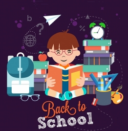 back to school banner kid learning tools icons