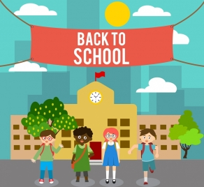 back to school banner pupil icons colored cartoon