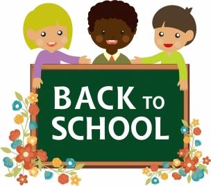 back to school banner pupils and blackboard design