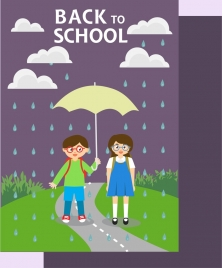back to school banner pupils rain drops decoration