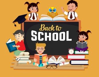 back to school banner school children books icons