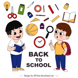 back to school banner schoolboy education tools sketch