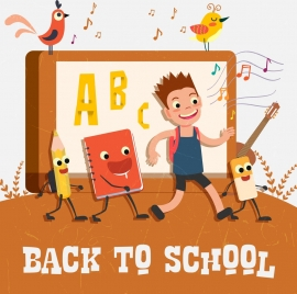 back to school banner schoolboy stylized tool icons