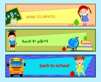 back to school banner sets colorful horizontal design