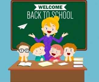 back to school banner teacher kids icons decoration