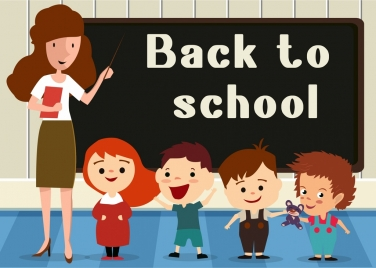 back to school banner teacher pupils backboard icons