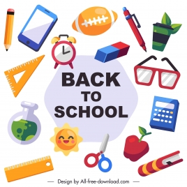 back to school design elements colorful objects sketch