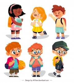 back to school icons cute schoolboys schoolgirls sketch