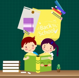 back to school poster kids learning tools icons