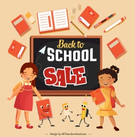 back to school sale banner stationery schoolgirls sketch
