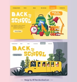 back to school webpage templates study elements sketch