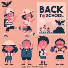 back too school banner cute schoolchildren sketch