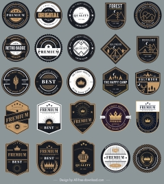 badges templates collection elegant black white shapes