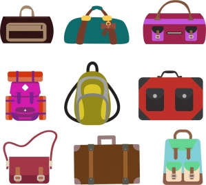 bag icons collection various colored types isolation