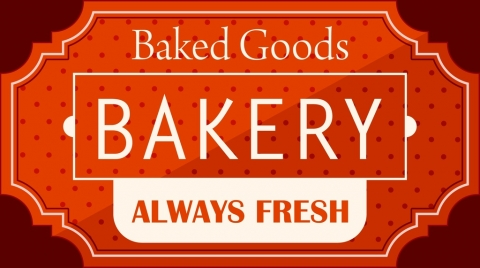 bakery label design red classical style