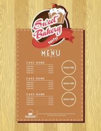 bakery menu template classical brown design cake logo
