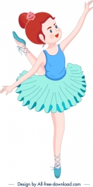ballerina icon colored cartoon character