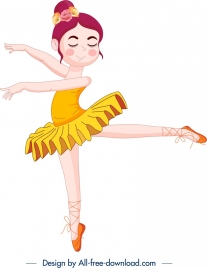 ballerina icon colored cute cartoon character